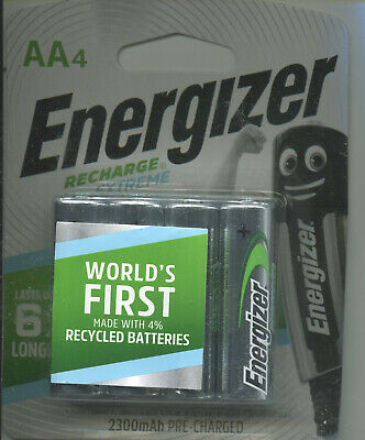4 piece Energizer Recharge Extreme Rechargeable AA Batteries 1.2V 2300mAh NiMH