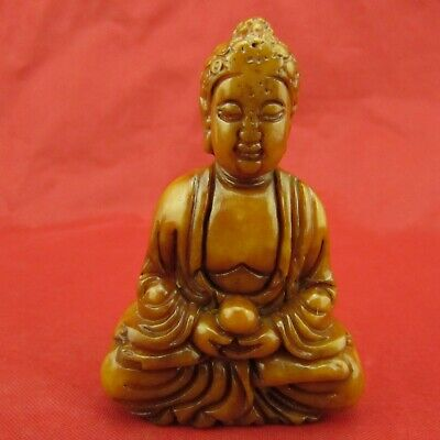 Chinese old yellow jade hand-carved Exquisite Buddha jade pendant D1076