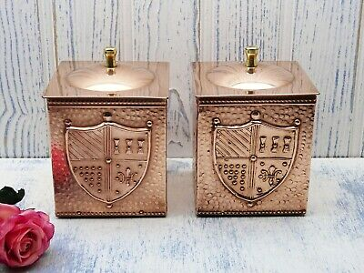 Arts and Crafts style pair of copper tea caddies ~ hammered copper, with crests