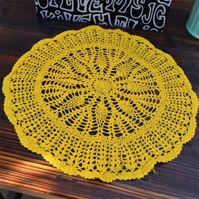 Pretty Yellow Hand Floral Crochet Cotton Round Doily 50CM