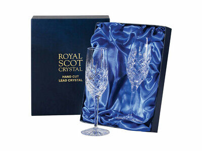 Royal Scot Crystal Pair Champagne Flutes Glasses - London  Pattern Boxed New