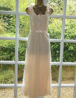 """Vintage 1970s Double Layer Frilly Nylon Nightie Nightdress Gown 40"""" Tall Girl"""