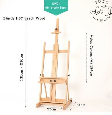Artist Beech Wood Studio Easel XXL 7.6ft 230cm Outdoor Painting Wedding Display