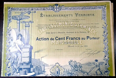 ETABLISSEMENTS VERMINCK, MARSEILLE 1912 - ACTION DE 100 FRANCS - FRANCE - Bond