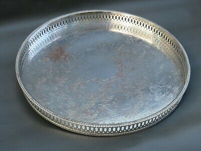 Vintage ornate silver plated round tray with gallery - silver plate on copper