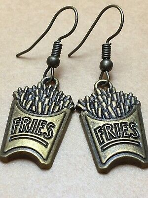 """Brass Antique French Fries Rustic Vintage Bonze Gold Tone Earrings Dangle 1 3/4"""""""
