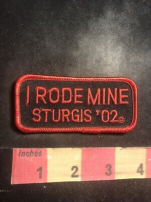 Red On Black Version 2002 I RODE MINE STURGIS '02 Motorcycle Patch Biker 95V2