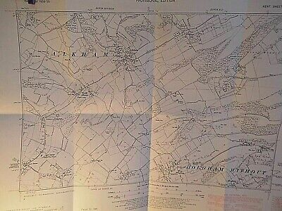 "Alkham,Hougham. Radiguns Abbey,Dover: Kent 6"" Vintage Planner's Map Os 1861-1948"