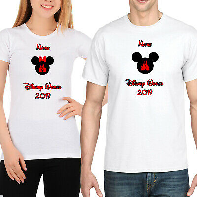 Personalised Minnie/Mickey Mouse Disney World Vacation T-Shirt Florida/Paris Wht