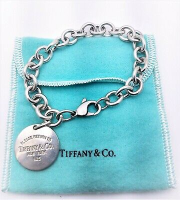 Authentic Tiffany & Co Sterling Silver Return to Tiffany Round Tag Bracelet 7.5