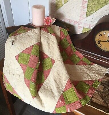 Antique Vintage Old 1800's Turkey Red Poison Green Tattered Quilt Piece #4