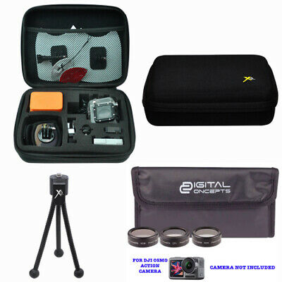 Hard Case +3 Hd Filter Kit + Tripod For Dji Osmo Action Camera With 2 Screens