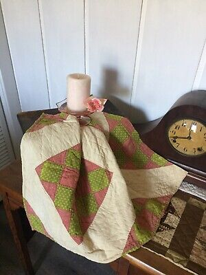 Antique Vintage Old 1800's Turkey Red Poison Green Tattered Quilt Piece #8