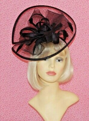 Black Sinamay Disc Fascinator With Bows, Loops & Feathers on Head Band.