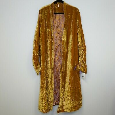 44addb65e3a Free People Womens Top Dhalia Gold Amber Luxe Maxi Velvet Duster Jacket L  $248