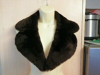 """RETRO vintage soft plush brown faux fur collar ready to stitch on a coat 60""""s 70"""