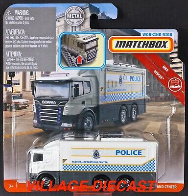 2019 Matchbox Working Rigs Scania Tactical Command Center WHITE / POLICE / MOC