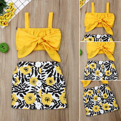 AU 2PCS Kid Baby Girl Outfit Summer Sleeveless Bow T-shirt Top+Skirt Clothes Set