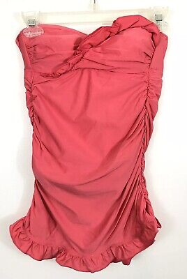 fa3e1067c3 Ella Moss Vintage Maillot One Piece Swimsuit Size Small Solid Pink Ruffled