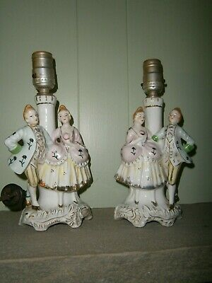 pair of two Vintage Japan Porcelain Figural Table Lamp French Style Man & Woman