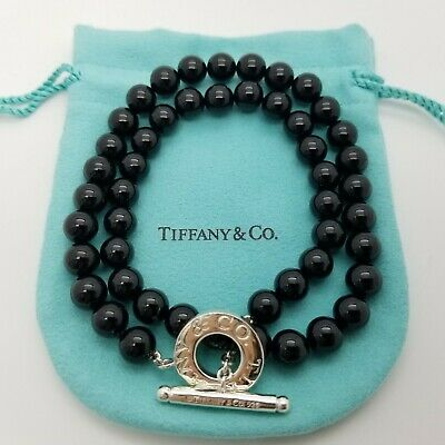 4ee14ca33 TIFFANY & CO Silver Onyx Ball Bead Torsade Toggle Necklace Pendant ...
