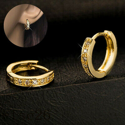Womens 14k Gold Filled  Sapphire Crystal Fashion Hoop Brilliant Jewelry Earrings