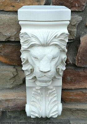 Animal Lion Face with Acanthus Corbel Column plaque Fragment relief 14""