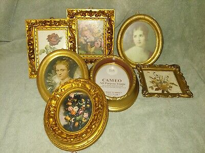 VTG Italy Lot 7 Small Ornate Gold Tone  Picture Frames Florentine Portraits