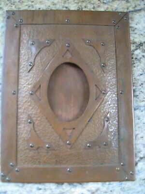 Antique Arts & Crafts Hand Hammered Copper Picture Frame Best Example!!