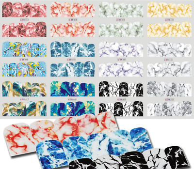 Nail Art Stickers Water Decals Transfers Multicoloured Marble Effect (BN613-624)