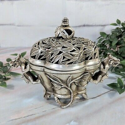 Antique Chinese Silver-Toned Dragon and Bamboo Patterned Signed Incense Burner