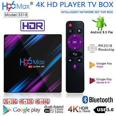 H96 Max TV Box Android 9.0 WiFi BT RK3318 Quad Core 4K 3D AV Media Player 4G+64G
