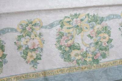Shabby Cottage Chic Spring Tablecloth Blue White Floral Bows Fabric 102 x 58 B7