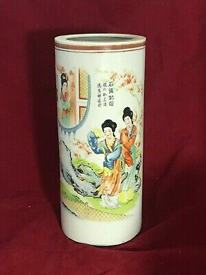 Chinese Antique Porcelain famille Hat tube Stand