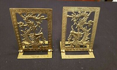 Pair Of Antique/Vintage Oriential Asian Brass Folding Bookends~Dragons 4 X 5 3/4