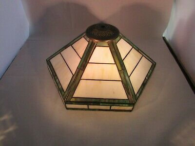 "Vintage Mission Arts And Crafts Style Stained Glass Lamp Shade 6 Sided 12"" Width"