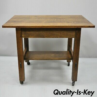 Antique L & JG Stickley Mission Oak Model 597 Blind Drawer Work Stand Table Desk