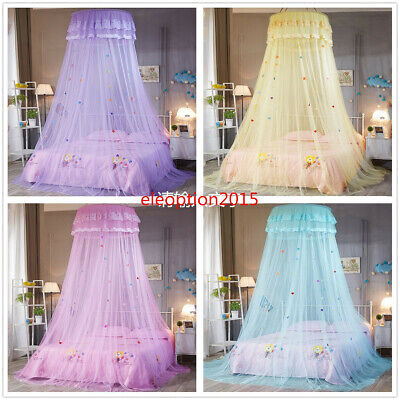 Lace Bed Mosquito Netting Mesh Canopy Girls Round Dome Princess Bedding Net