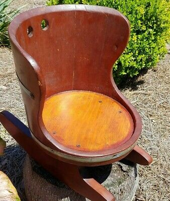 Antique Wood Barrel Rocking Chair Rocker Child Doll Bear Plant Stand Nursery