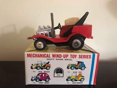 Vintage 1960'S Red Mechanical Wind- Up Tin Toy Car By Clover In Original Box