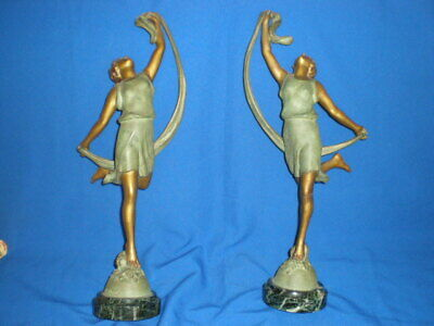 Pair of Art Deco P. SEGA Marked Dancing Young Girls Statues Circa 1925