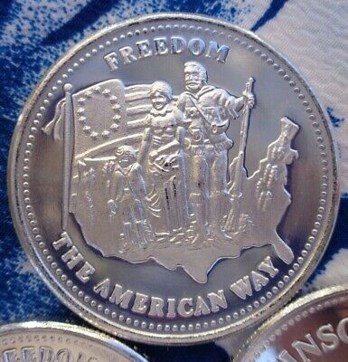1 oz. 1986 Johnson Matthey Freedom, The American Way rounds .999 fine silver