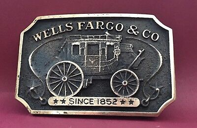 VTG Authentic Heavy Brass **WELLS FARGO, SINCE 1852** Co. Authorized BELT BUCKLE