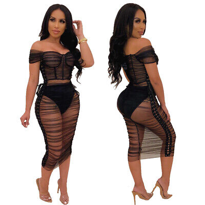 Women Boat Neck Short Sleeves Mesh Sheer Bodycon Club Party Dress with Underwear