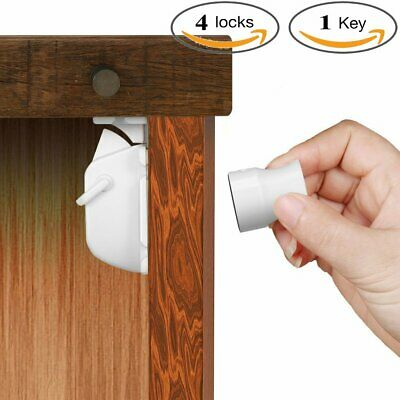 4X Magnetic Cabinet Drawer Cupboard Locks for Baby Kids Safety Child Proofing