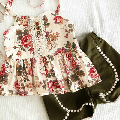 AU Toddler Kid Baby Girl Flower Tops Shorts Pants 2PCS Outfit Summer Clothes Set