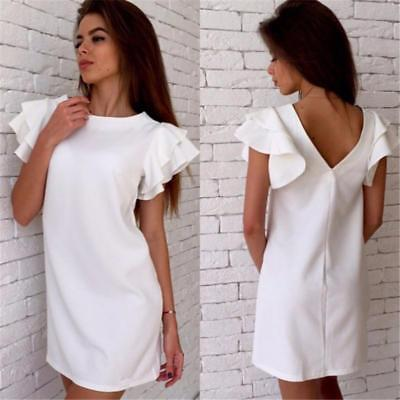 Sexy Women Short Ruffle Sleeve Solid Bodycon Clubwear Party Dress White JJ