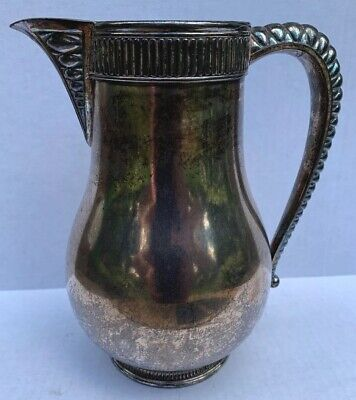 "Simpson Hall & Miller Silverplate Pitcher, Quadruple Plate, 9"" High, Antique"