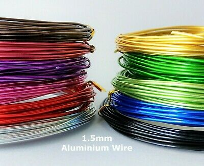 1.5mm Aluminium Wire 6 Metre Length Assorted Colours Jewelry Craft Artistic Wire