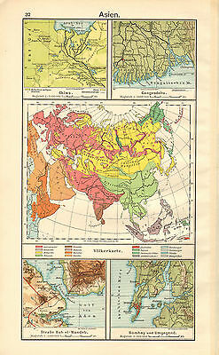 1908 Map ~ Asia Calcutta Ganges Bombay Environs ~ China